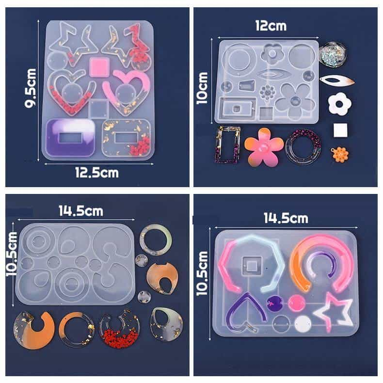 Silicone Resin Earring Molds, 4PCS per Set - ResinsPal