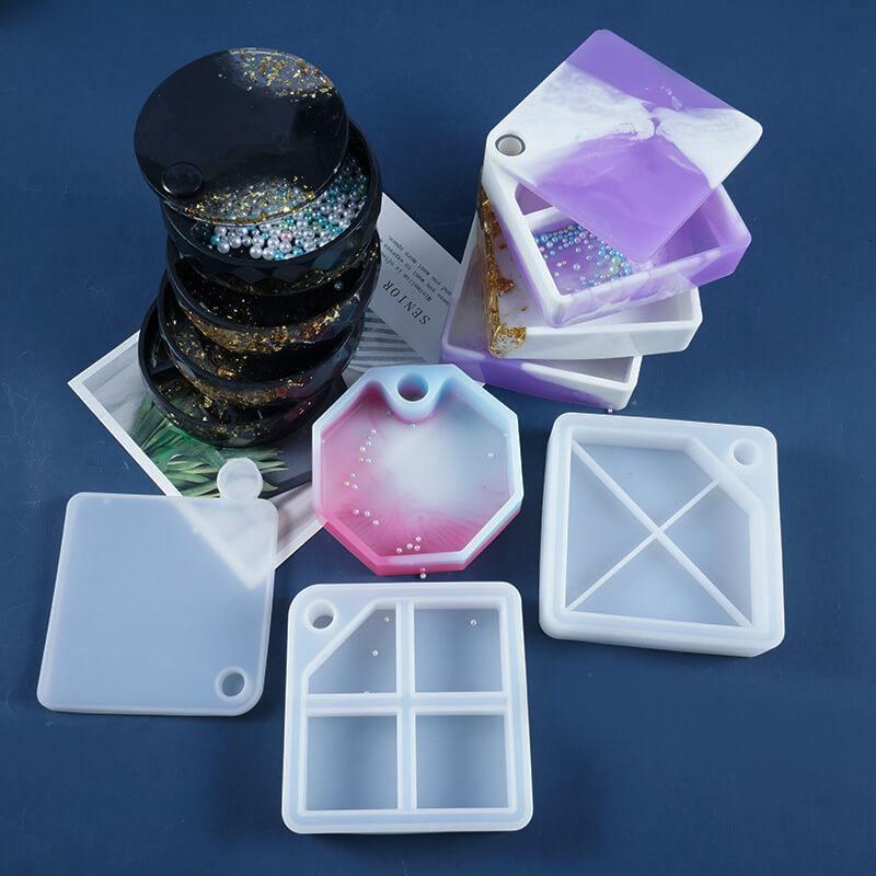 Square Silicone Resin Trinket Box Mold